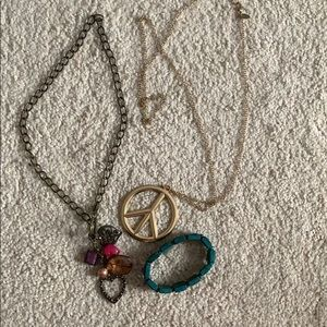 3/$15 assorted peace sign jewelry